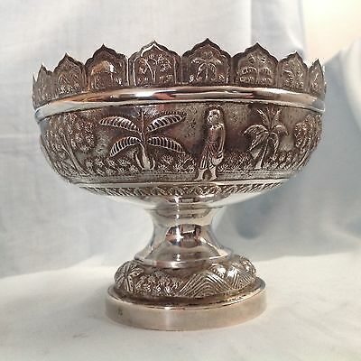Vintage Southeast Asia Silver Hand Made Pedestal Bowl Marked 75