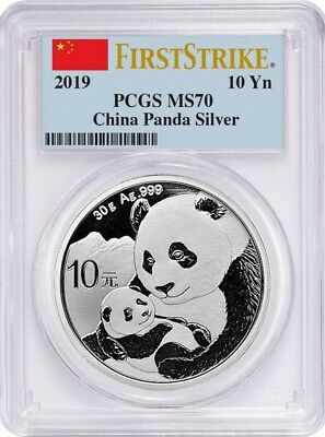 2019 CHINA 30 g SILVER PANDA ¥10 Coin FIRST STRIKE PCGS MS70
