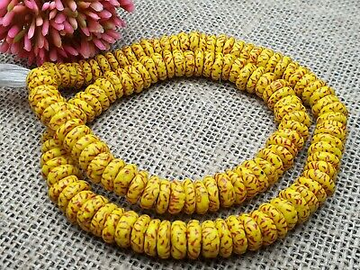 Strang 52 cm  recycled Krobo trade beads discus gelb rot Glasperlen Ghana 11 mm