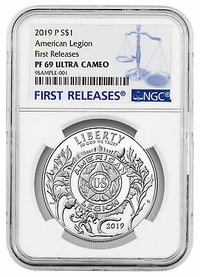 2019P American Legion 100th Commem Silver Dollar NGC PF69 UC FR SKU57419