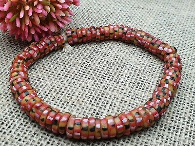 Krobo trade beads Ghana recycled glass Pulver Glasperlen Afrika 11 mm bunt