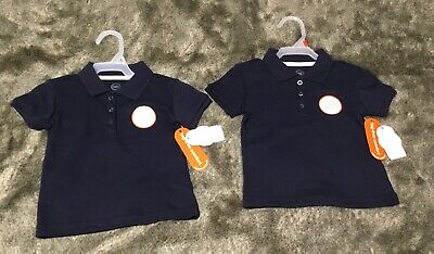 Wonder Nation 2T Toddler Girls School Uniform Short Sleeve Interlock Polo 2-Pack