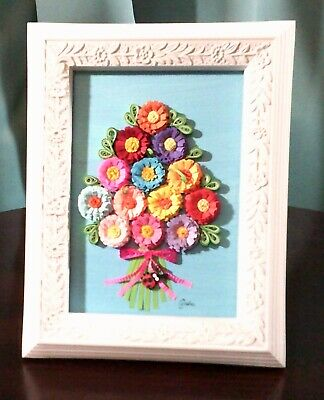3D Art! - Summer Floral Bouquet & Ladybug 5 X 7 Paper Quilling on Canvas  Framed