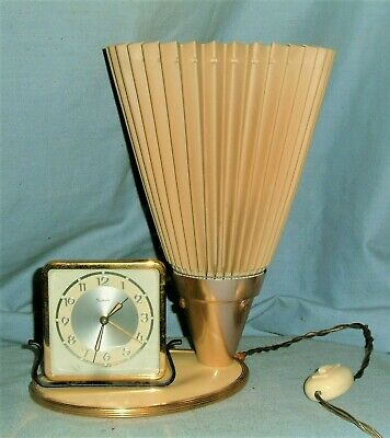 *Vintage 1950s - Atomic / Modernist - Bedside Clock / Lamp*