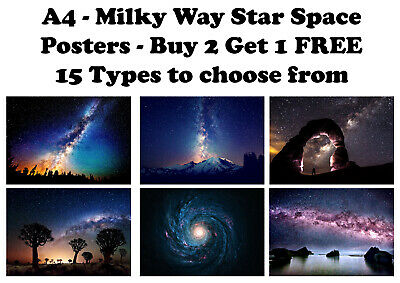 Milky Way Landscape Space Stars Galaxy Photo Poster Print ONLY Wall Art A4
