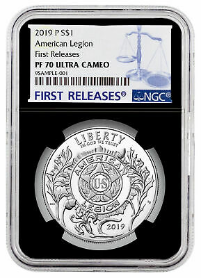2019 P American Legion 100th Silver Dollar NGC PF70 UC FR Black Core SKU57422