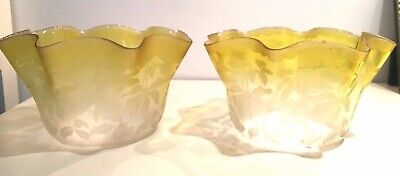 pair antique citrus yellow oil lamp gas light ruffle shade acid etched floral