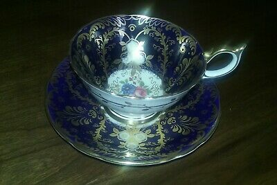 AYNSLEY China Cup & Saucer ROYALTY Pattern - Cobalt & Gold Floral - EXCELLENT!
