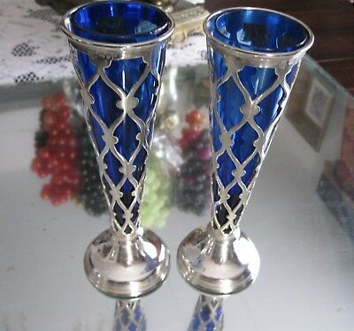 Rare Pair  Attenborough 1905 Antique  Sterling Silver Cobalt Glass Lined Vases