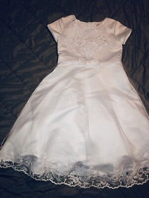 7e90ea0d9b1 US ANGELS FLOWER GIRL SLEEVELESS SATIN TULLE PETAL DRESS Sz 4 NEW ...
