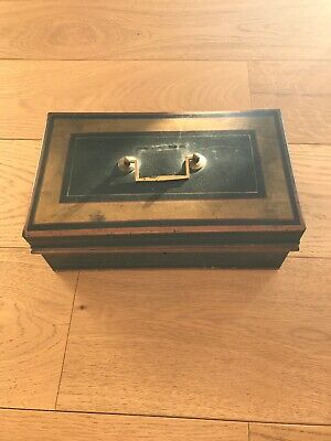 """Antique Toleware cash tin or moneybox Large Nearly 12"""" Across All Original."""