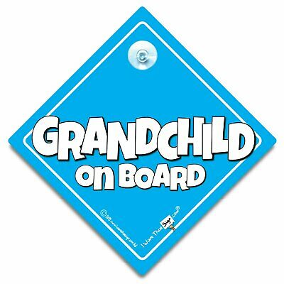 Grandchild On Board Sign, Baby Boy On Board BIG TEXT, Blue Suction Cup Car Sign
