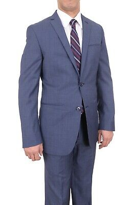 Bar III Slim Fit Blue Textured Two Button Wool Blend Flat Front Suit 44R 37W