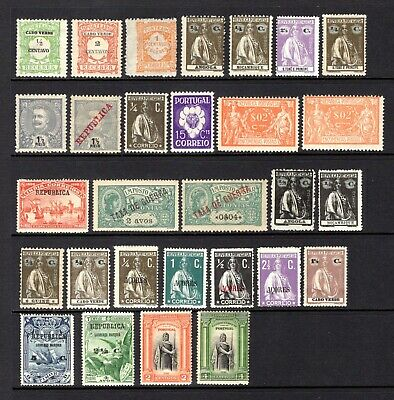 PORTUGAL & COLONIES EARLY LIGHTLY & MOUNTED MINT WITH HINGE REMAIN x 29 STAMPS