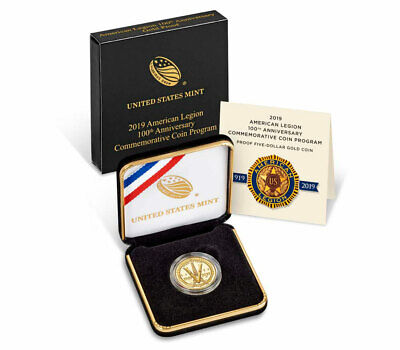 2019 W American Legion 100th $5 Gold Commemorative GEM Proof Coin OGP SKU57432