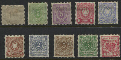 Germany 1872 - 1900 MH / Unused (2pf) Selection Sc #12, 37-41, 45-48 $105