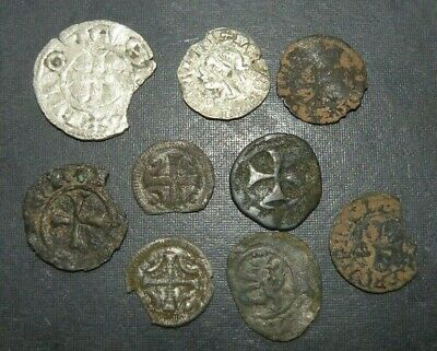 Medieval Coin Lot 9 Total Crusader Cross Silver Ancient Antique 1100-1390AD Old
