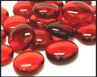 50 RED Glass Round Decorative Pebbles - Stones - Beads - Nuggets Garden 18-20mm