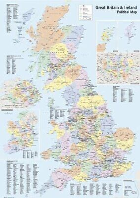 Poster Political Map UK And Ireland 61 x 91.5cm