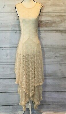da985029e3e4 FREE PEOPLE Love Story Cream Lace Slip Sheer Maxi Dress Size S $138 Orig