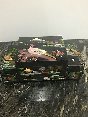 Vintage Large Japanese Laquered  Musical Jewellery Box Oriental Mother Of Pearl