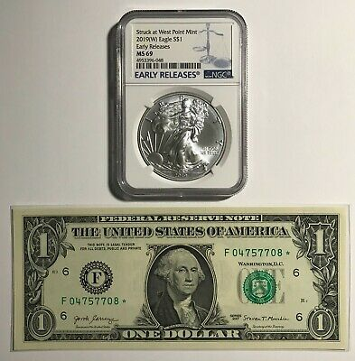 Superb 2019-(W) Silver Eagle Ngc Ms-69 & Rare 2017 $1 Atlanta Gem New Star Pic's