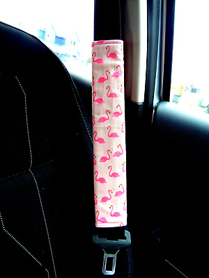 Flamingo - Adult Kids Seat Belt Strap Shoulder Pads Cover use for Car