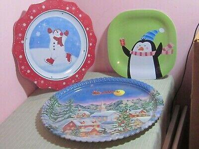 Christmas Platters And Trays.Christmas Platters Holiday 5 Serving Trays Penguin Carousel Horse Snowman Santa