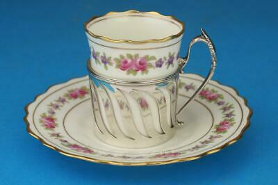 AYNSLEY Art Deco ROSES Demitasse Coffee Cup/Can & SILVER Holder Hallmarked 1932