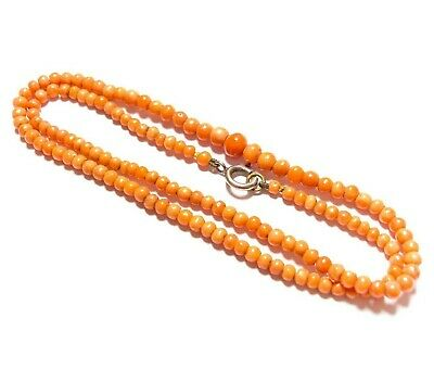 Beautiful Small Vintage Or Antique Coral Bead Necklace