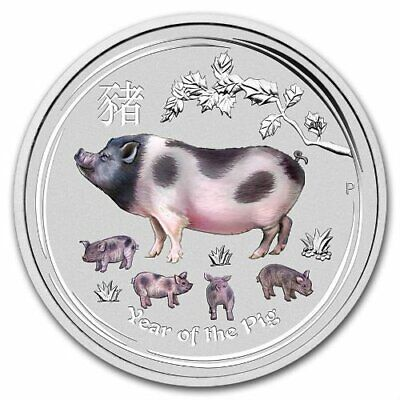 Lunar Year Of The Pig 2019 1 Oz Pure Silver Color Coin Capsule - Perth Australia