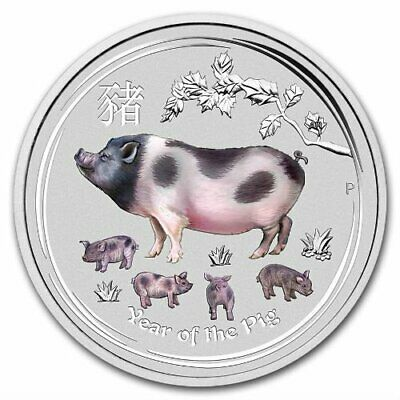 Lunar Year Of The Pig 2019 2 Oz Pure Silver Color Coin Capsule - Perth Australia