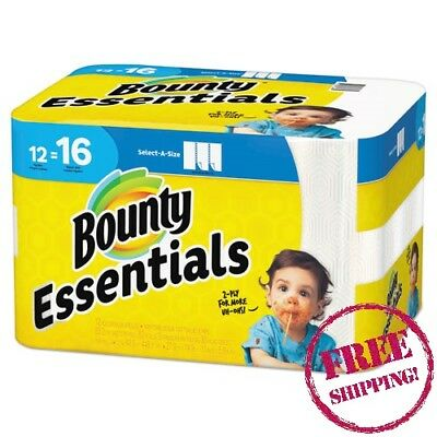 New - Bounty Affordable Essentials Spills & Messes, Paper Towels, 2Ply, 12 Rolls