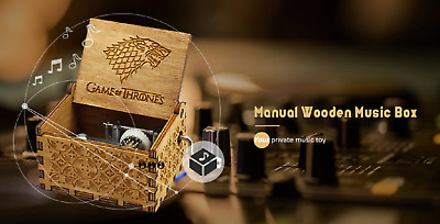 HOT Hnadmade Game of thrones Engrave hand wooden music box Interesting Toys Gift