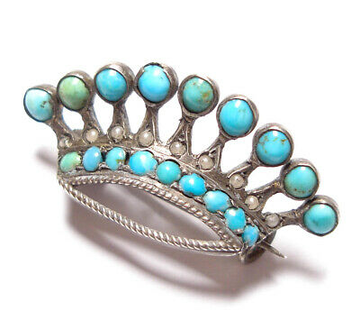 Beautiful Antique Victorian Or Edwardian Silver & Turquoise Crown Brooch