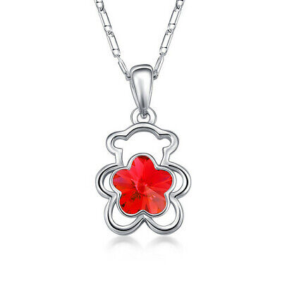 Fashion Jewelry Silver Charms red Crystal Rhinestone Bear Pendant Necklace New