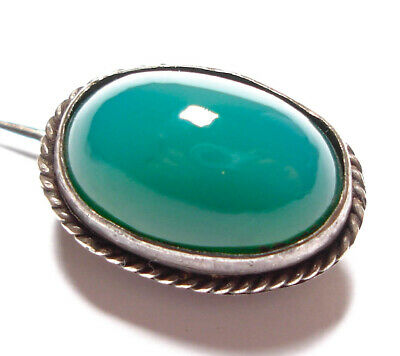 Beautiful Small Antique Victorian Or Edwardian Silver & Chrysoprase Brooch Af