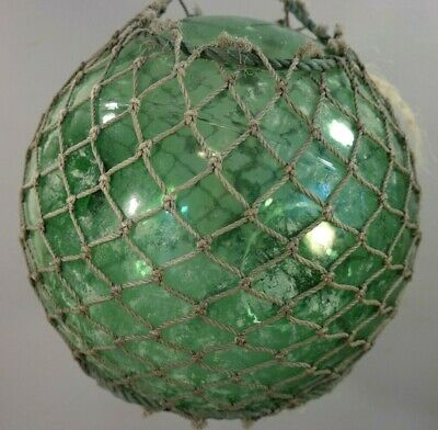 """11"""" AUTHENTIC Vintage MARITIME SALVAGE Old FISHING NET Gazing GLASS FLOAT BALL"""