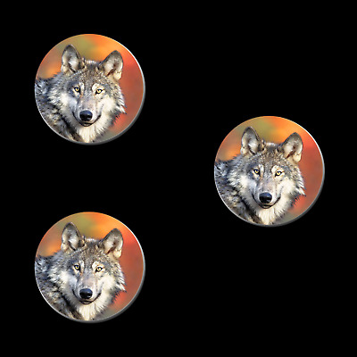 2 WOLF HEAD REFRIGERATOR MAGNETS 31013 button new gray timber wolves magnet