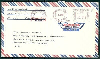 Barbados 1990 Meter Stamp Cover & Slogan, Bridgetown To Kent U.k. -Cag 050617