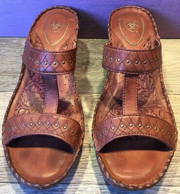 aa9907f54734 Ariat Womens Sandals Size 7.5 Brown Leather T Strap Wedge Heel Brass Studs  EUC!