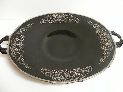 Art DECO SERVING PLATTER PLATE Black Glass Sterling Silver Overlay Scroll Dish