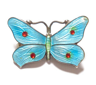 Beautiful Small Vintage Or Antique Silver & Enamel Butterfly Brooch Af