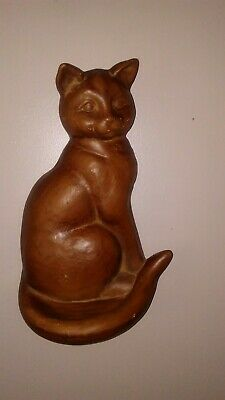 Vintage Art Pottery Cat Wall Pocket Dipping Oil Incense Trough Figurine