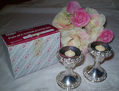 Pair Of Ianthe Made In England Silver Plated Candle Holders ~ Never Used