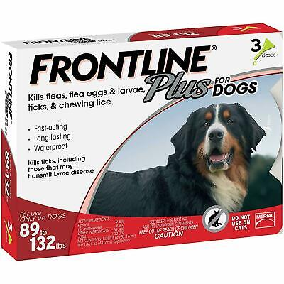 Frontline Plus for Dogs XL Dog 89-132 pounds, Flea and Tick Treatment - 3 doses