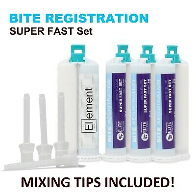 Element BITE REGISTRATION Dental  VPS PVS SUPER FAST Set 50ML Cartridge + TIPS