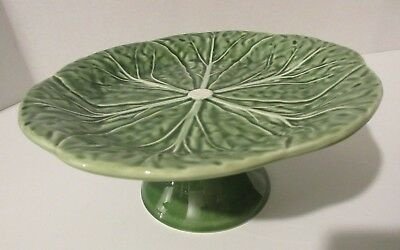 """Bordallo Pinheiro GREEN CABBAGE 7"""" Pedestal Cup Cake Pastry Dessert Stand Plate"""