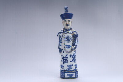 Collection Chinese hand carving Blue and white porcelain Minister statue  aa421