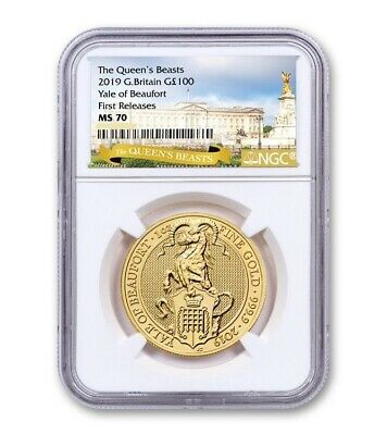 2019 UK. Great Britain 1 oz Gold Queen's Beasts (Yale of Beaufort) NGC MS70 FR